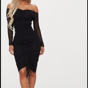 Black Mesh Ruched Midi Dress
